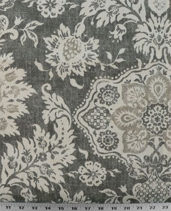 Belmont Metal   Damask-like floral design printed on a cotton duck base. Colors are tan and natural on a gray background. Perfect for draperies, comforters and duvets, slipcovers, light upholstery, purses and totes, throw pillows, and much more. Medium drape. $8.98/yard