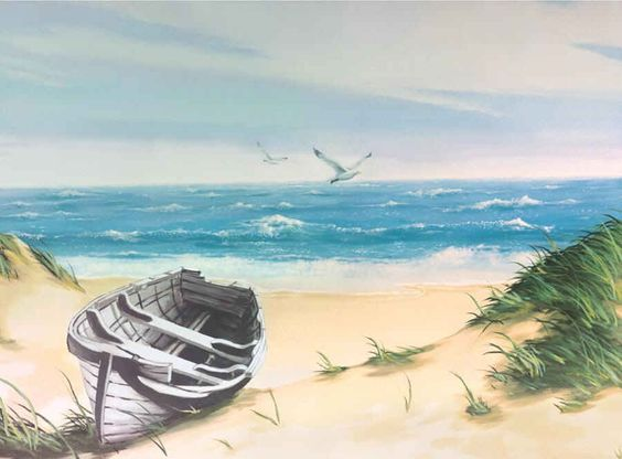 Beach mural boats and ducks on pinterest for Beach scene mural wallpaper