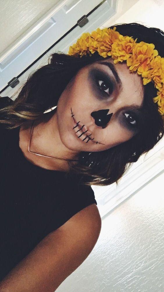 28 Cool and Creepy VooDoo Doll Halloween Makeup Ideas 2018; Halloween Makeup; Halloween scary makeup; halloween costumes; creative halloween makeup.