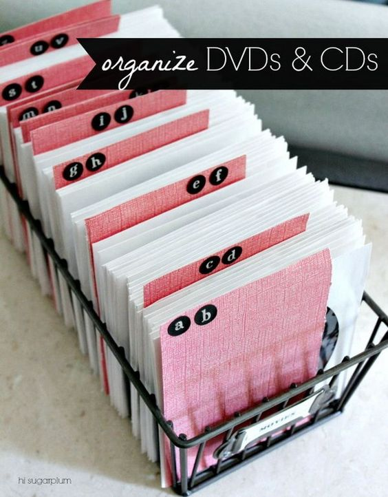 Reduce storage space by using the CD and DVD Sleeves. Make alphabet dividers out of sturdy scrapbook paper and stickers. It makes finding a movie simpler. http://hative.com/creative-diy-cd-and-dvd-storage-ideas-or-solutions/