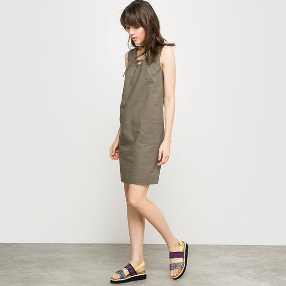 #Rédition #Dress Linen Shift Dress with Laced Neckline at #LaRedoute