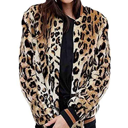 Ansenesna Winter Warm Blouse for Ladies,Women Leopard Hoodie Jacket Faux Fur Outwear Long Sleeve Cardigan Coat