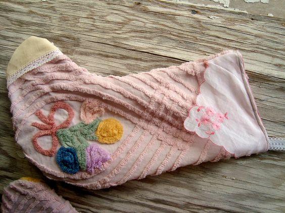 chenille & vintage hankie stocking!