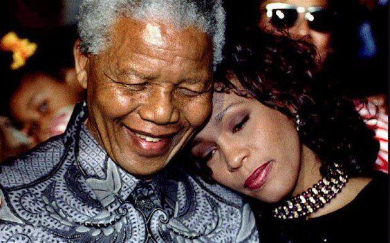 Wonderful photo of Nelson Mandela and Whitney Houston.