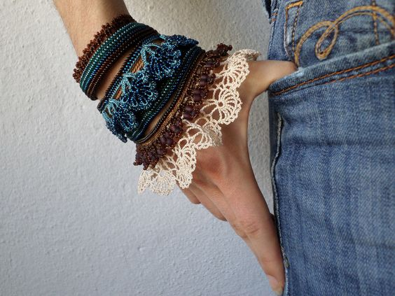 https://flic.kr/p/CoqJU5 | handmade beaded crochet bracelet with laces and beaded flowers in cream, brown, green and blue colors by irregularexpressions: