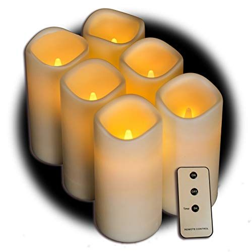 Set Of 6 Outdoor 3x6 Waterproof Resin Candles With Timer And