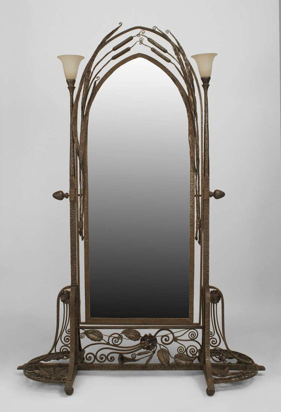 Cheval mirror wrought iron and french art on pinterest for Wrought iron mirror