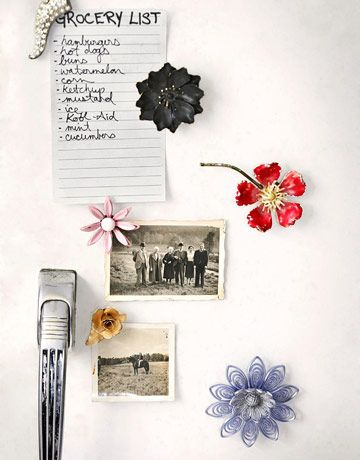 Love this idea: turn jewelry you don't wear anymore into refrigerator magnets.     #crafts #projects