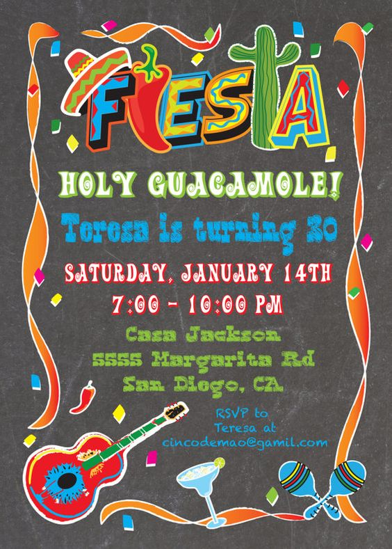 Mexican Fiesta Party Invitation on a chalkboard background ...
