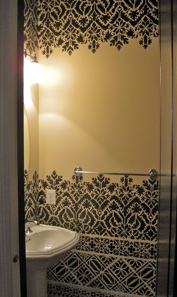 Moroccan Lace Stencil Shower Doors Design And Stenciled