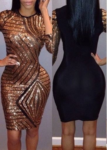 Sequin Embellished Color Block Bodycon Dress on sale only US$25.63 ...