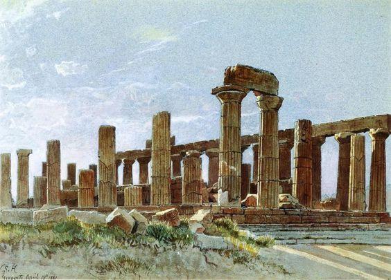 Agrigente (aka temple de Junon Lacinia) de William Stanley Haseltine (1835-1900, United States)