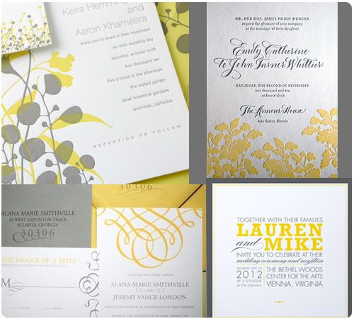 yellow & grey wedding invitations
