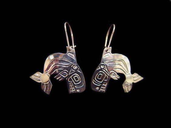 Killerwhale Earrings. Made of Sterling silver, by Ron Sebastian, a Gitksan artist. Measuring 1.25L X 1.25.  Northwest Coast First Nations Jewelry.