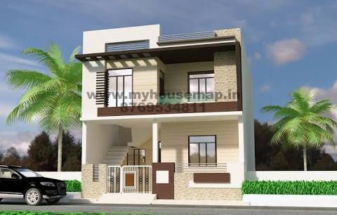Square house front design for duplex