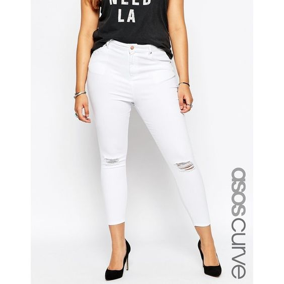 White ripped skinny jeans for plus size | Global fashion jeans ...