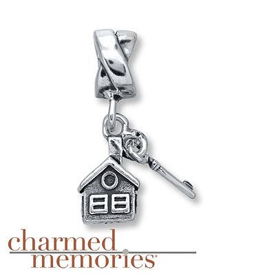 Charmed Memories House & Key Charm Sterling Silver