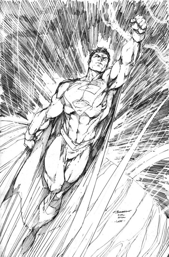 Jim Lee: Superman.  There's a great feeling of movement in this drawing.