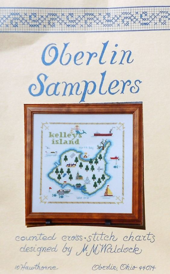 Oberlin Samplers KELLEY'S ISLAND Lake Erie Ohio Map Picture By M.M. Waldock - Counted Cross Stitch Pattern Chart