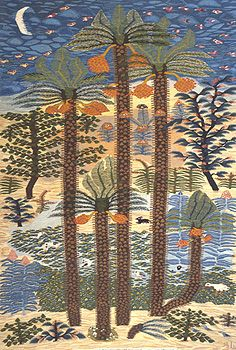 """Palm trees"", 1984,    wool tapestry, 2.25m x 1.45m,    by Nadra Azim (b. 1969)  Ramses Wissa Wassef Art Centre, Giza, Egypt"