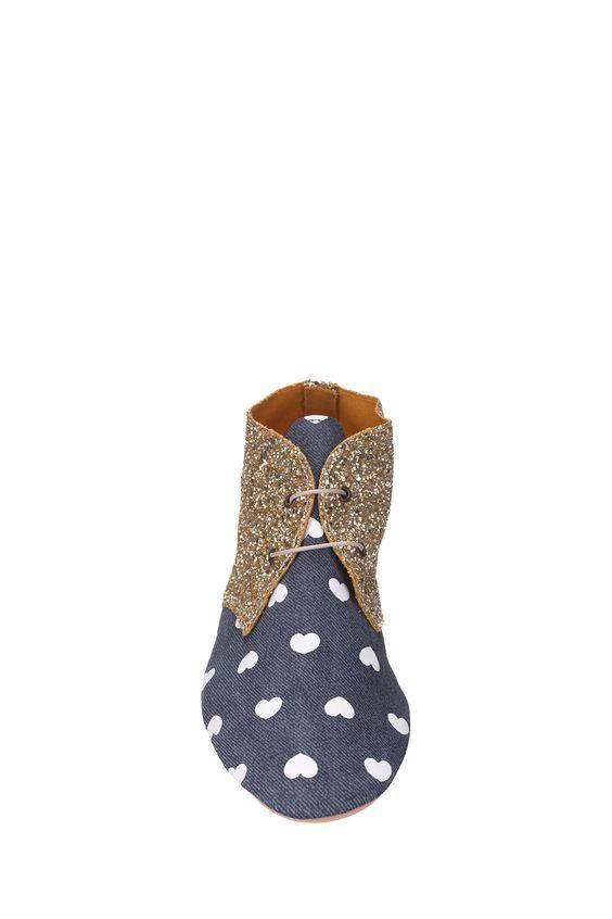 Derbies cuir et paillettes Cuola Bleu Anniel sur MonShowroom.com