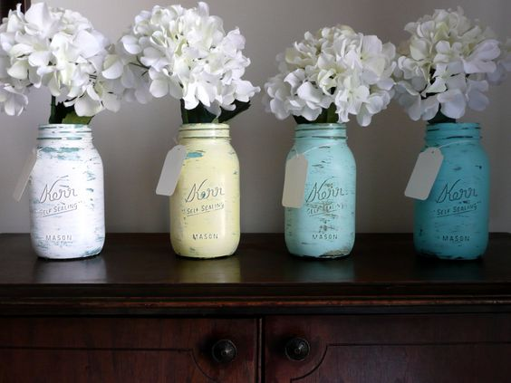 WEDDING and Home Decor SALE Painted and Distressed Shabby Chic Mason Jar Vases - Seaside inside/outside quart. $20.00, via Etsy.