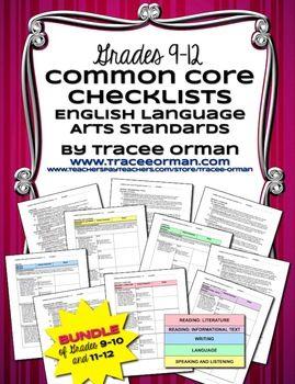 Common Core ELA Standards Checklists High School Grades 9-12 - bundled version of my grades 9-10 and grades 11-12 packs.