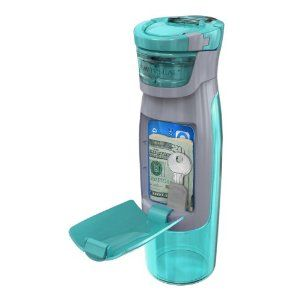 Water bottle with pocket for key, money, card. WANT!