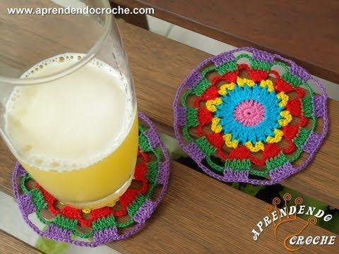 Porta Copos de Croche Arco-Íris - Aprendendo Crochê