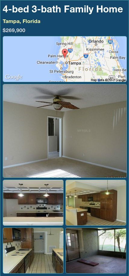 4-bed 3-bath Family Home in Tampa, Florida ►$269,900 #PropertyForSale #RealEstate #Florida http://florida-magic.com/properties/89207-family-home-for-sale-in-tampa-florida-with-4-bedroom-3-bathroom