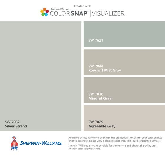 I found these colors with ColorSnap® Visualizer for iPhone by Sherwin-Williams: Silver Strand (SW 7057), Silvermist (SW 7621), Roycroft Mist Gray (SW 2844), Mindful Gray (SW 7016), Agreeable Gray (SW 7029).