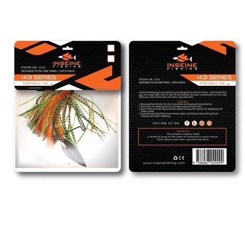 Create A Eye Catching Header Card For Inseine Fishing Target Audience Is Bass Fishermen Our Jig Is For The Serious Bass Fisherma Fish Packaging Design It Cast