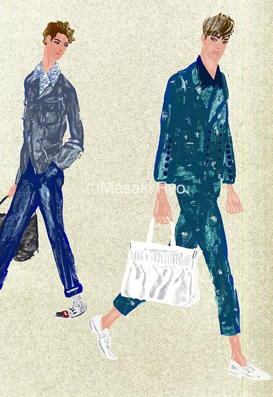 inspired by Alexander McQueen & Marni  SPRING 2016 MENSWEAR Collection | illustration by Masaki Ryo.