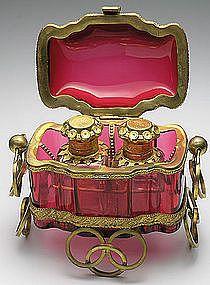 Antique Cranberry Glass Perfume Casket...