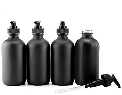 Cornucopia Brands Black Coated 8 Ounce Glass Pump Bottles 4 Pack