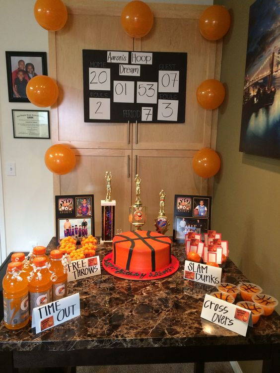 Basketball party decorations aaron 39 s basketball party for Basketball craft party ideas