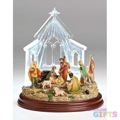 "8"" Led Nativity In Stable Fig"