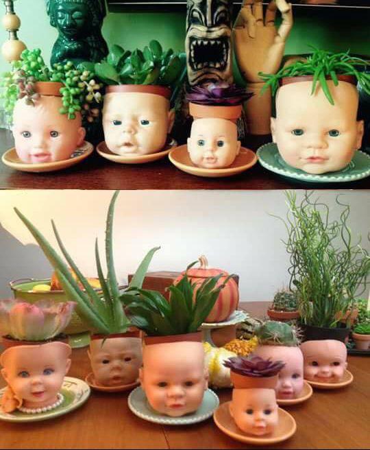 Bloempotten maken van een poppen gezicht
