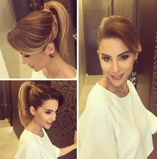 chic ponytail hairstyle for an oblong face