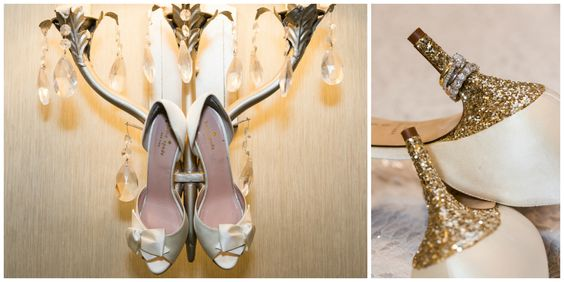 Kate Spade Wedding Shoes; Giltter Heels; Cold Spring Country Club Wedding, New York - The Coordinated Bride; Sarah Tew Photography