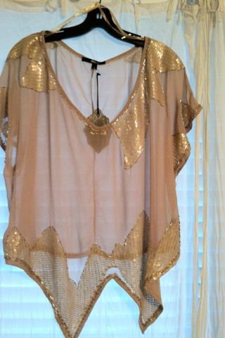 beautiful blush sheer top with subtle sequin shimmer. wear with a nude or black cami underneath. or bathing suit if it matches the color scheme.