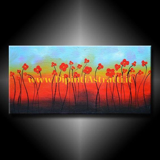 Quadro moderno con fiori rossi astratti. Dipinto interamente a mano su tela su uno sfondo dai colori sfumati e con i petali dei fiori realizzati con pittura a rilievo. http://www.dipintiastratti.it/DIPINTI-ASTRATTI-E-MODERNI/988-QUADRO-ASTRATTO-CON-CAMPO-DI-FIORI.html