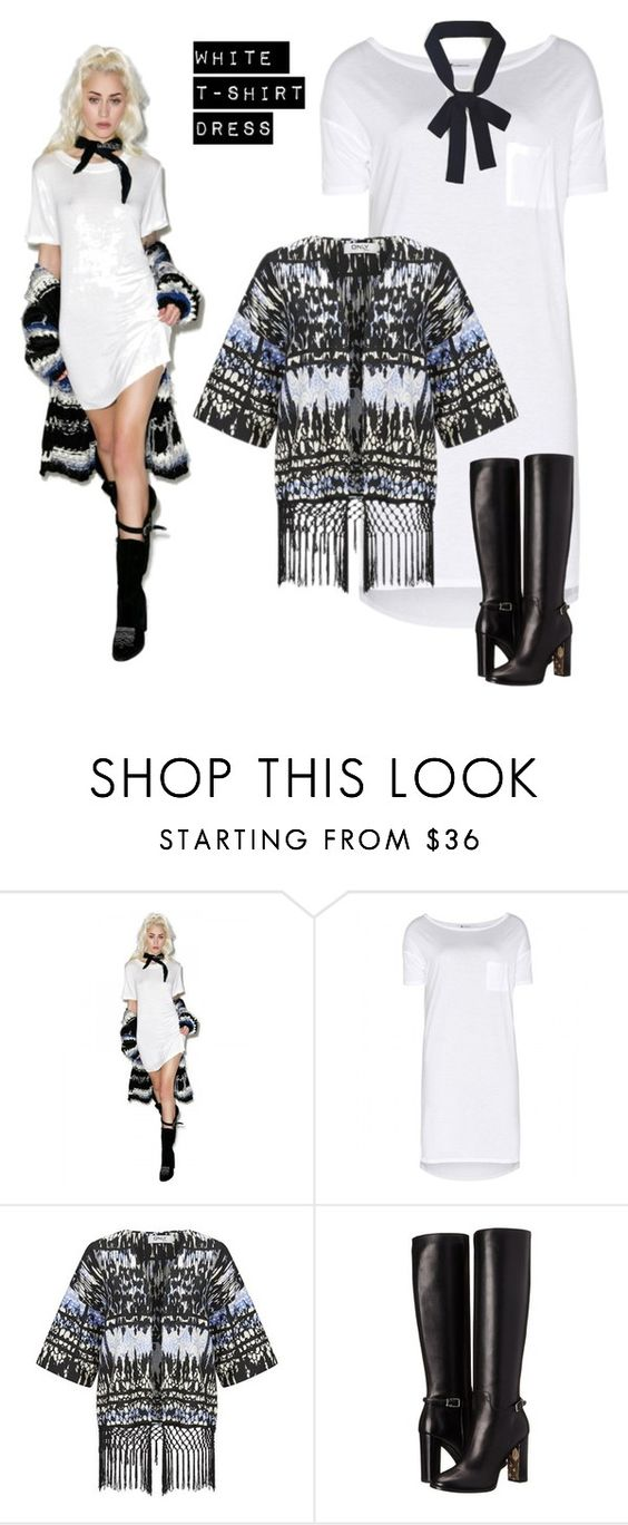 """""""white tee dress"""" by im-karla-with-a-k ❤ liked on Polyvore featuring Audrey 3+1, T By Alexander Wang, ONLY and Burberry"""