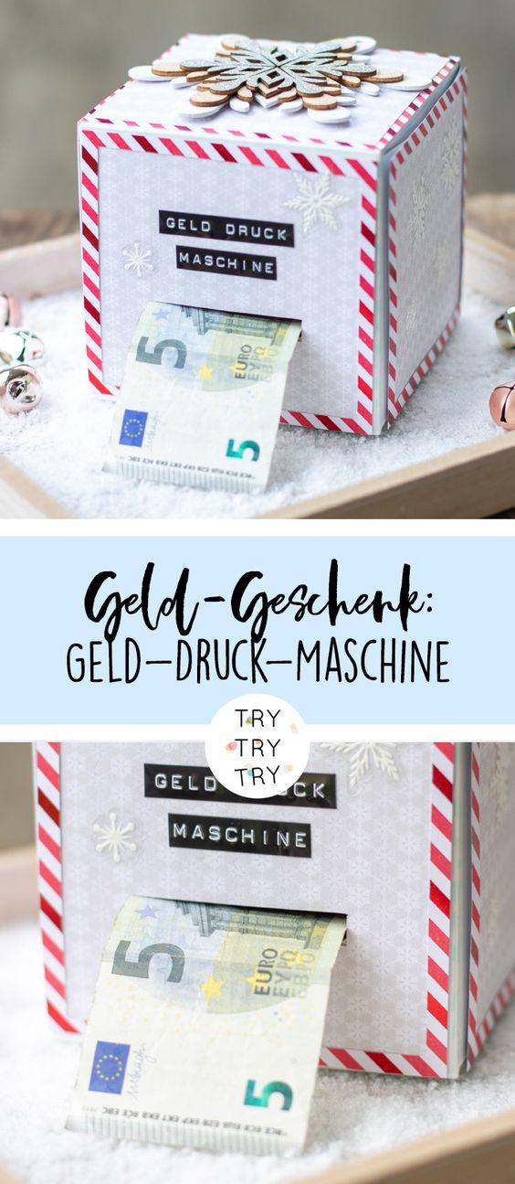 DIY Geld-Druck-Maschine - Geld-Geschenk für Weihnachten oder Geburtstag