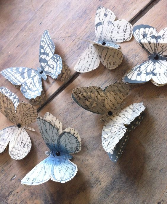Paper butterflies made from old books #RepurposedBooks: