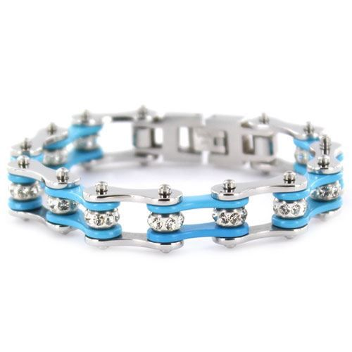 "1/2"" Wide Two Tone Silver & Turquoise with crystal centers motorcycle chain. Buy Silver & Turquoise Bike Chain Bracelet with Crystals online for the best price of $29.95."