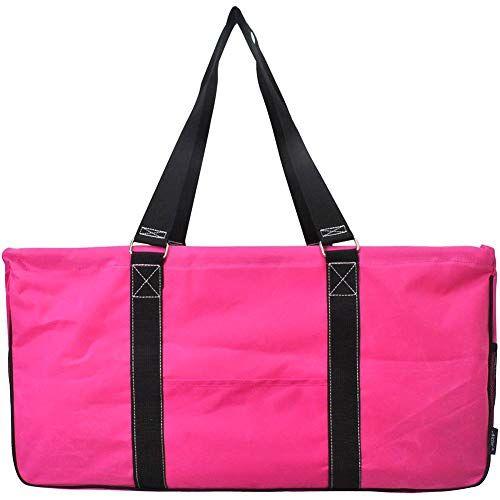 Overnight Bag Carry on Hot Pink Trim Camper Print Monogrammed Quilted Large Tote Bag