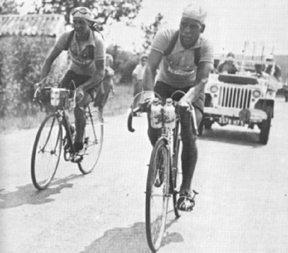 The first African team in the Tour took to the start line of the 1950 race. That year, a team comprised of 4 Algerian and 2 Moroccan riders lined up against various other national and regional teams. Marcel Molines and Abdel Kader Zaaf http://www.thebikecomesfirst.com/looking-back-to-1950-at-the-first-african-team-in-the-tour-de-france/