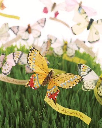 A garden of butterfly escort cards
