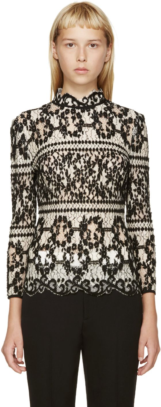 Erdem: Black & White Flocked Lace Blouse | SSENSE